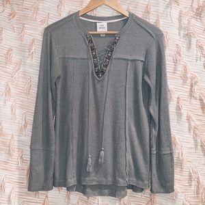 Knox Rose Grey Knit Tassel String Blouse